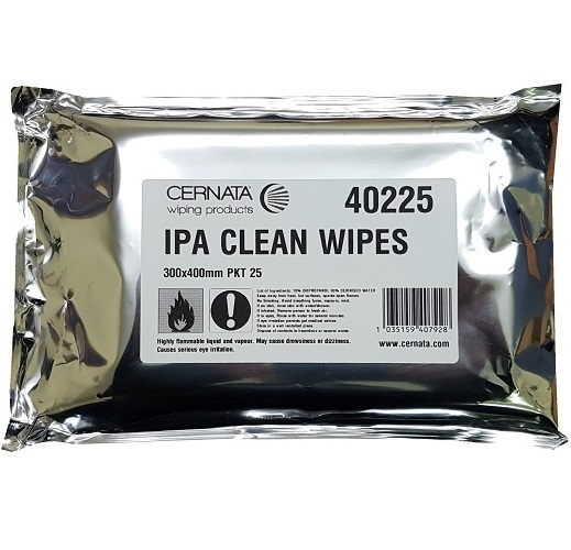 IPA Surface Clean Wipes Poly Cellulose 30x40cms Pack of 25